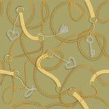Barokke druk met gouden kettingen, gouden hart, sleutel, riemen Naadloos barok vectorpatroon vector illustratie