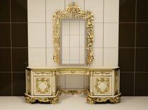 Barokke gouden spiegel met koninklijke borst Stock Illustratie
