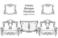 Barokke het meubilair vastgestelde inzameling van de luxestijl Stoffering met luxueuze rijke ornamenten Franse gesneden decoratie stock illustratie