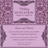 Barokke huwelijksuitnodiging, viooltje en roze Stock Afbeeldingen