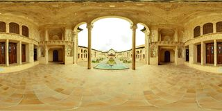 Barokke Kashan-het herenhuishuis van het oasepaleis en binnenplaats, Iran Stock Foto's