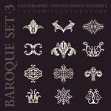 Barokke uitstekende elementen Vector kalligrafische reeks vector illustratie