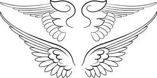 Barokke Vleugels in Kalligrafie Stock Foto