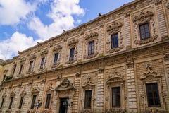 Barokowa fasada dziejowy pałac w Lecka Zdjęcia Royalty Free