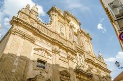 Barokowa fasada Sant'Agata katedra w Gallipoli, Włochy Zdjęcie Stock