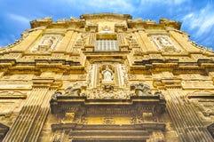 Barokowa fasada Sant'Agata katedra w Gallipoli, Włochy Obraz Stock