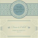 Barokowy ślubny zaproszenie, błękit i beż, royalty ilustracja