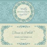 Barokowy ślubny zaproszenie, błękit i beż, ilustracja wektor