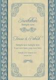 Barokowy ślubny zaproszenie, beż i błękit, ilustracja wektor