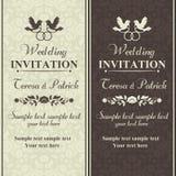 Barokowy ślubny zaproszenie, brąz i beż, ilustracji