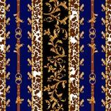 Barokowy bezszwowy wzór z złotymi paskami, liśćmi i łańcuchami, Pasiasta łata dla szalików, druk, tkanina ilustracja wektor
