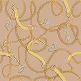 Barokowy druk z złotymi łańcuchami, złoty serce, klucz, paski Wektorowa łata dla druku, tkanina, szalika projekt ilustracja wektor