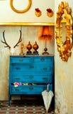Barokowy grunge rocznika dom z błękitny kreślarzem Obraz Royalty Free