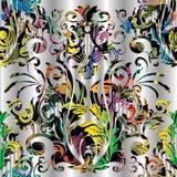 Barokowy kolorowy wektorowy bezszwowy wzór Multicolor kwiecisty vint Zdjęcie Royalty Free