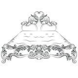 Barokowy luksusu stylu łóżka meble Fotografia Royalty Free