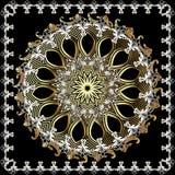 Barokowy ornamentacyjny rocznika round mandala wzór Kwiecisty elegancja ornament w wiktoriański stylu Kwadratowa barok rama Ślima royalty ilustracja