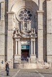 Barokowy portal i Różany okno Porto katedra Catedral Se lub robimy Porto Fotografia Royalty Free