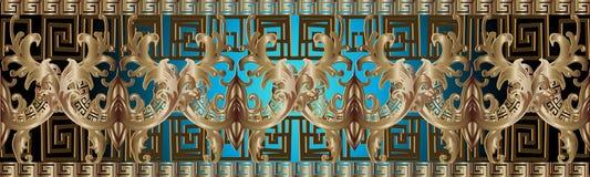 Barokowy złota 3d rabatowy bezszwowy wzór Antykwarscy ozdobni błyszczący półdupki royalty ilustracja