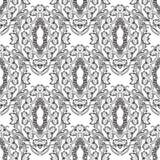 baroku bezszwowy deseniowy Czarny i biały wektorowa grka stylu tła tapeta z rocznikiem kwitnie, ślimacznica liście, meandery, ilustracji