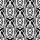 baroku bezszwowy deseniowy Czarny i biały wektorowa grka stylu tła tapeta z rocznikiem kwitnie, ślimacznica liście, meandery, ilustracja wektor