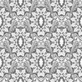 baroku bezszwowy deseniowy Czarny i biały wektorowa grka stylu tła tapeta z rocznikiem kwitnie, ślimacznica liście, meandery, royalty ilustracja