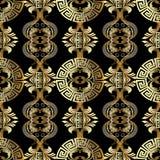 baroku bezszwowy deseniowy Grecki wektorowy tło Rocznika złoto zdjęcie royalty free