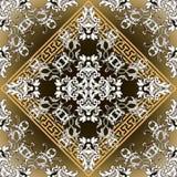 baroku bezszwowy deseniowy Rozjarzona wektoru adamaszka tła tapeta z rocznikiem kwitnie, ślimacznica liście, meandery, grka klucz ilustracja wektor