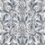 Baroku lekki 3d wektorowy bezszwowy wzór Kwiecisty rocznika adamaszek Zdjęcie Royalty Free