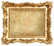 Baroku obrazka stylowa złota rama z kanwą Obraz Stock