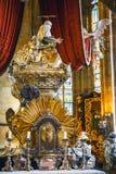 Baroku srebny grobowiec St John Nepomuk w St Vitus katedrze w Praga kasztelu Obrazy Stock