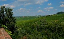 Barolo, Piedmont, Italy Em julho de 2018 Do castelo você tem vistas magníficas do campo circunvizinho foto de stock