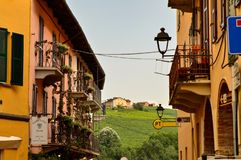 Barolo, province of Cuneo, Piedmont, Italy. July 2018. The alleys of the old town royalty free stock photo