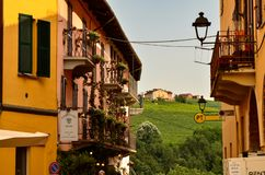 Barolo, province of Cuneo, Piedmont, Italy. July 2018. The alleys of the old town stock photo