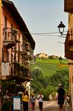 Barolo, province of Cuneo, Piedmont, Italy. July 2018. The alleys of the old town stock images