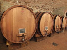 Barolo wina starzenie się w Włoskich wino beczkach Fotografia Stock