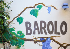 Barolo - wineshop sign stock photography