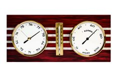 Barometer. Historical barometer with thermometer and weather forecast stock images