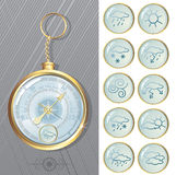 Barometer. Vector illustration of Old styled Barometer with weathers icons stock illustration