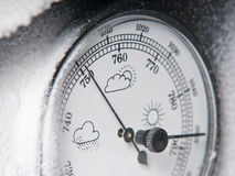 Barometer. Detail of a barometer with snow stock images