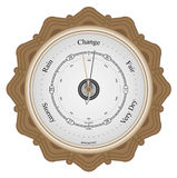 Barometer. On brown wooden plaque with white background Royalty Free Stock Photo