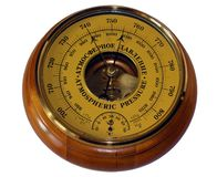 Barometer aneroid isolated on white background royalty free stock photos