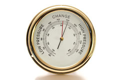 Barometer Brass with White Face Isolated Stock Photos