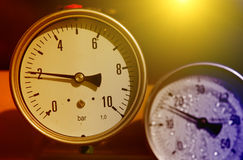 Barometer. Close up of barometer in natural gas production industry stock photography