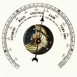 Barometer dial change. Closeup of an aneroid barometer dial set to change royalty free stock photography