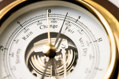 Barometer Fair. Close up of aneroid barometer with needle at 30.3 inches royalty free stock images