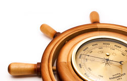 Barometer of handwheel. Wooden barometer of handwheel, close-up stock images