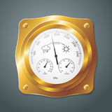 Barometer instrument, with scales for measuring air temperature. And air humidity. Vector Illustration. Barometer with golden frame Royalty Free Stock Photos