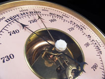 Barometer shows on weather changing-2 Stock Image