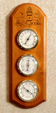 Barometer, thermometer, humidity. A close up of an aneroid barometer, thermometer, humidity scale pointing to change royalty free stock photography