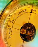 Aneroid Barometer - Weather Forecast. An Aneroid Barometer is an instrument measuring atmospheric pressure, used in forecasting the weather and determining stock photo